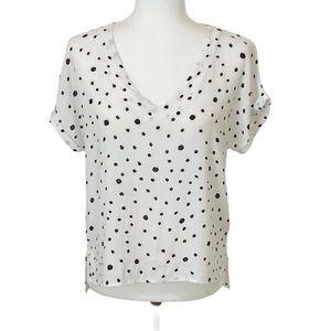 Mod Ref Polka Dot Crepe Top Cuffed Sleeve S